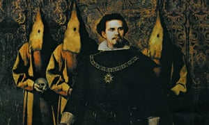 Ludwig II with some hooded friends.