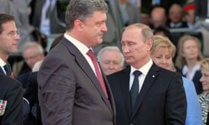 Russian president Vladimir Putin and Ukrainian president-elect Petro Poroshenko on Sword beach.