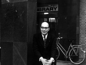 Philip Larkin - poet - outside Hull University library where he worked as a librarian.
