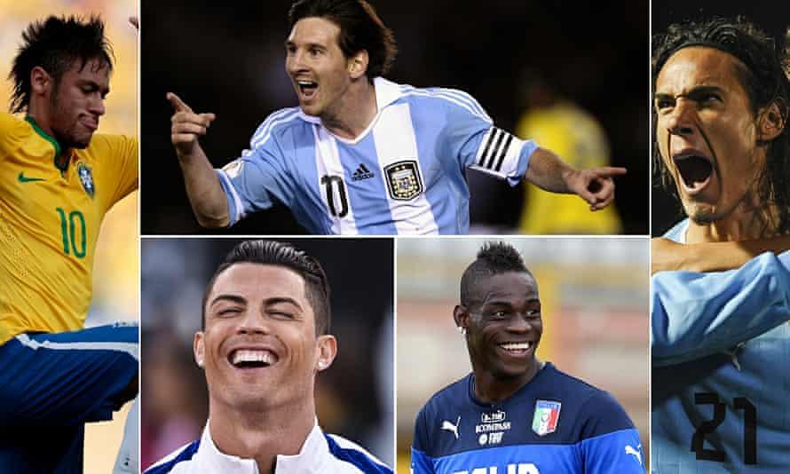 Squads composite: Neymar, Lionel Messi, Edinson Cavani, Mario Balotelli and Cristiano Ronaldo