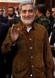 Afghan presidential candidate Abdullah Abdullah at a campaign rally after his convoy was attacked