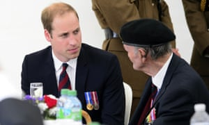 Prince William, Duke of Cambridge, speaks to veterans in Arromanches-les-Bains earlier today.