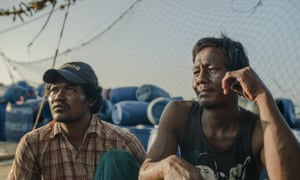 Cambodian migrant workers on their boat in Songkhla port, Thailand.