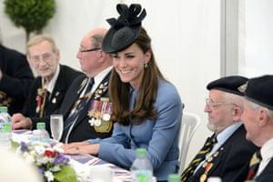 The Duchess of Cambridge meets veterans in Arromanches-les-Bains today.