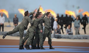 Dancers perform at the international ceremony commemorating the 70th anniversary of the D-day invasion at Sword beach.