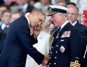 Prince Charles and Barack Obama of the United States during a ceremony to commemorate D-day.