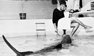 Margaret with Peter the dolphin