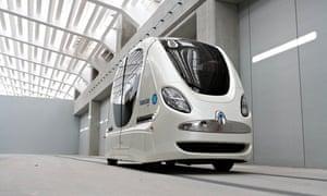A robot transport pod in Abu Dhabi. Similar vehicles are coming to Milton Keynes next year.