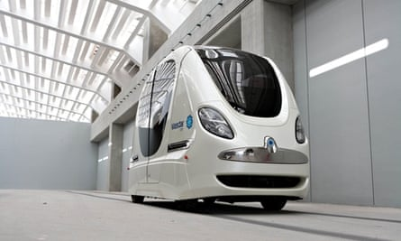 A robot transport pod in Abu Dhabi. Similar vehicles are coming to Milton Keynes next year.