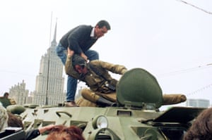 In Moscow a pro-democracy demonstrator took the fight to the army.
