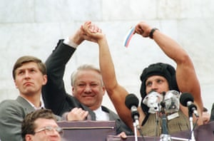 It was Boris Yeltsin who defeated the coup by calling for a general strike in support of Gorbachev.