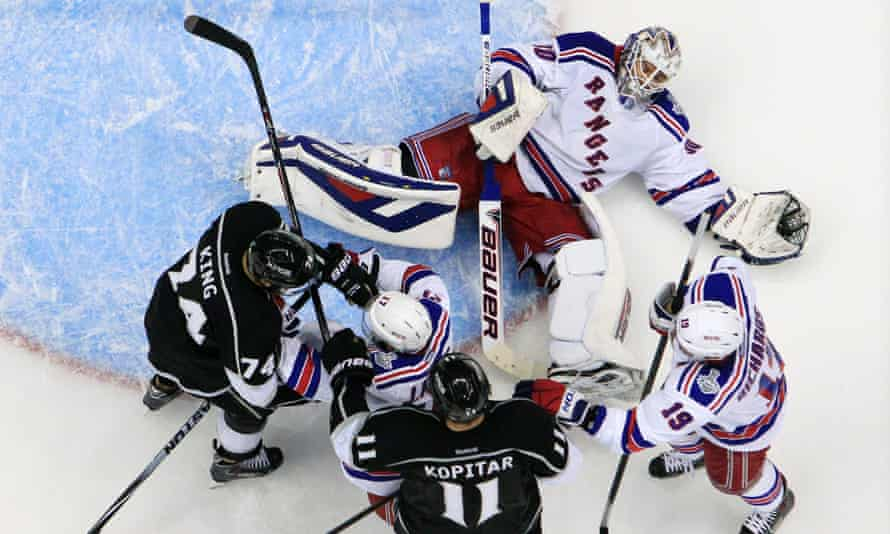 New York Rangers goaltender Henrik Lundqvist  on the ice during Game 2 of the Stanley Cup finals.