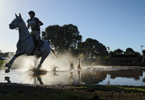 Kate Beadel rides Cloud in the Cross Country CC1 event during the Melbourne International Horse Trials at Werribee Park.
