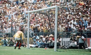 England's Peter Bonetti can only watch as Franz Beckenbauer's shot goes past him to start a West German comeback from 2-0 down in the 1970 World Cup quarter-final.