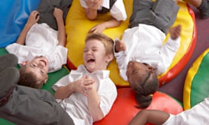 laughing school children