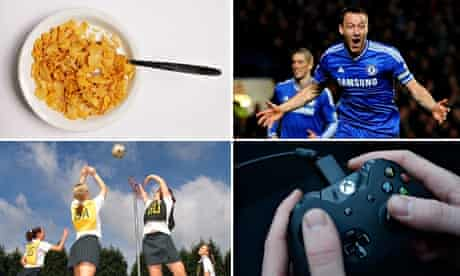 Composite: A bowl of cereal, John Terry, netball players and an Xbox