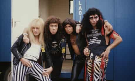 With Adrian Edmondson, Nigel Planer and Peter Richardson as the spoof heavy metal band Bad News at the Reading Festival, 1987.