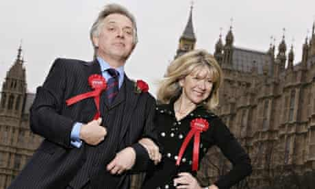 Rik Mayall and Marsha Fitzalan pose as their 1980s TV characters Alan and Sarah B'Stard