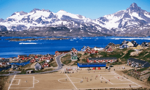 A football match in Tasiilaq, Greenland.