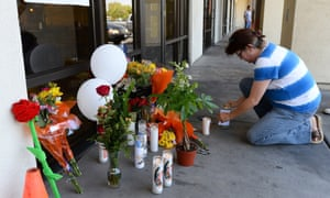 A memorial outside CiCi's Pizza in Las Vegas, where Alyn Beck and Igor Soldo were shot and killed.