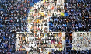 A collage of profile pictures makes up a wall in the break room at the Facebook Data Centre in Forest City, North Carolina.
