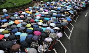 Protesters in Hong Kong.