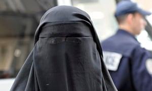 A woman wearing a burqa in Paris, France