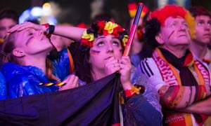 Germany supporters in Berlin cheer anxiously as their team play Algeria – and are ecstatic at the result