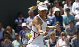 Sabine Lisicki returns against Yaroslava Shvedova.