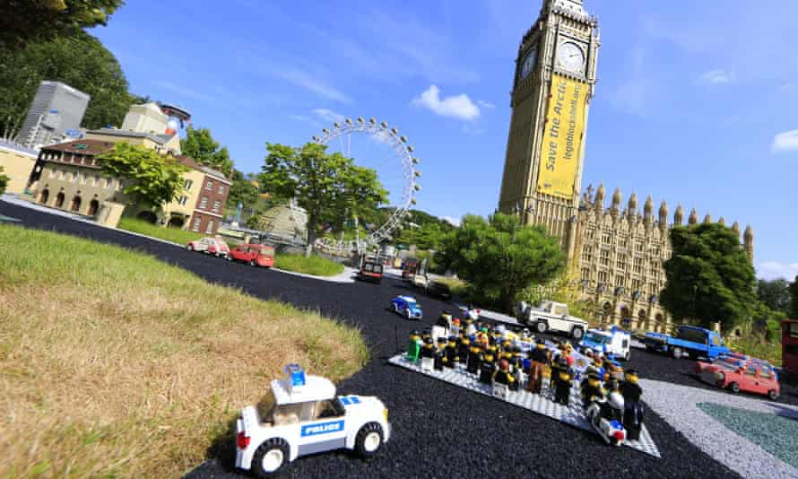 Lego mini figures Greenpeace protest against Shell at Legoland Big Ben, demanding Shell to stop plan to drill for oil in the Arctic