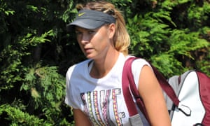 Russia's Maria Sharapova heads off for action.