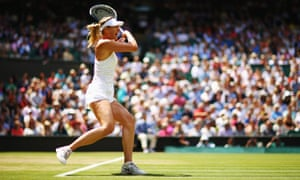 Maria Sharapova hits a forehand against Angelique Kerber.