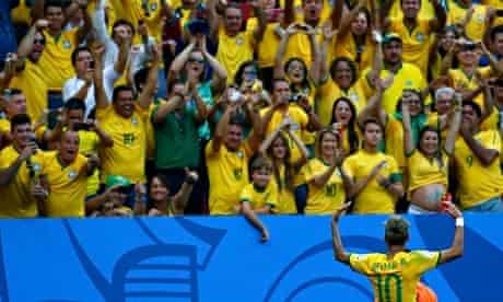 Brazil's Neymar gestures to the crowd
