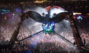 Nero DJs inside the Arcadia spider at Glastonbury 2014