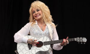 Dolly Parton performs on the Pyramid Stage.