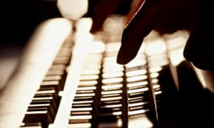 woman tapping keyboard