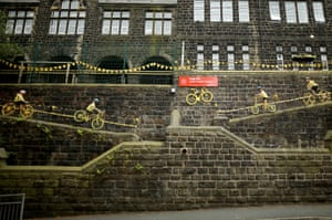 Pupils of Cragg Vale Junior School have decorated their school with yellow bikes