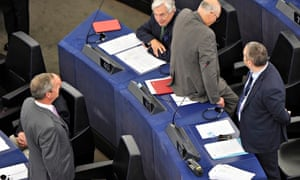 Ukip leader Nigel Farage, bottom left, turns his back at the opening of the European parliament