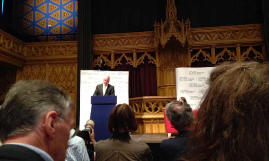 Jack McConnell speaking in Edinburgh earlier today