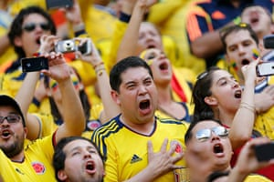 Agony and ecstasy: A supporter of Colombia's national soccer team