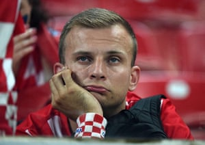 Agony and ecstasy: A fan of Croatia reacts after his team