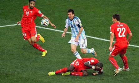 Lionel Messi in action, Argentina v Switzerland, World Cup 2014