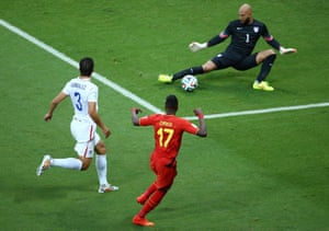 Origi can't beat the outstretched leg of Tim Howard. Photograph: Robert Cianflone/Getty Images