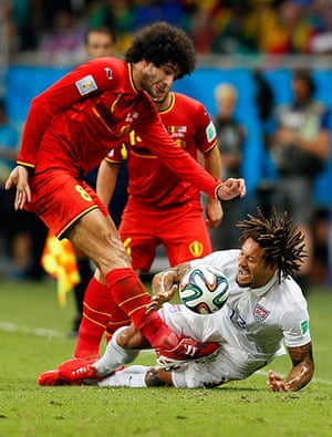 belgium v usa: Jermaine Jones comes off worst as Marouane Fellaini gets stuck in