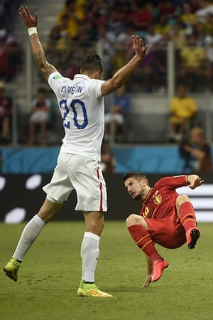 belgium v usa: US defender Geoff Cameron is booked