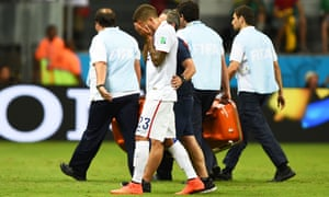 Fabian Johnson can't hide his disappointment about being substituted due to injury.