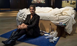 Tracey Emin with installation My Bed