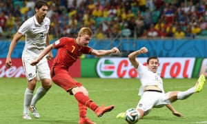 Belgium's Kevin De Bruyne opens the scoring for his side in their World Cup match against USA.