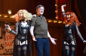 Stephen Fry appears on stage during the opening night of Monty Python Live (mostly). Photograph: Dave J Hogan/Getty Images