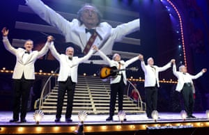 """Michael Palin, Terry Gilliam, Eric Idle, John Cleese and Terry Jones bow to the crowd after their opening night of """"Monty Python Live (Mostly)""""."""